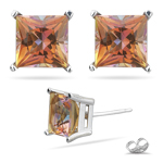 3.93 Ct 7 mm AA Princess Mystic Topaz Stud Earrings in 14K White Gold