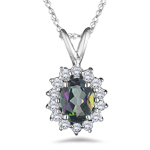 1.75 Ct Diamond & Mystic Fire Topaz Cluster Pendant in 18K White Gold