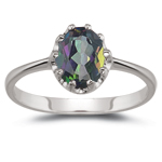 1.33 Cts of 8x6 mm AA Oval Mystic Topaz Solitaire Ring in 14K White Gold