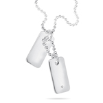 Boys Diamond Double Dog Tag 35 cm Necklace