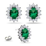 0.55 Cts Diamond & 1.50 Cts Natural Emerald Cluster Earrings in 18K White Gold