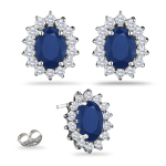 0.55 Ct Diamond & 2.28 Cts Blue Sapphire Cluster Earrings in 18KW Gold