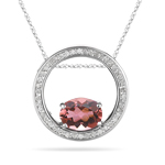 0.22 Ct Diamond and Pink Tourmaline Pendant in 14K White Gold