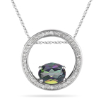 2.25 Cts Diamond & Mystic Green Topaz Circle Pendant in 14K White Gold