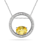0.25 Ct Diamond & 9x7 Oval Yellow Sapphire Circle Pendant in 14KW Gold