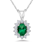 0.28 Cts Diamond & 0.78 Cts Natural Emerald Cluster Pendant in 18K White Gold