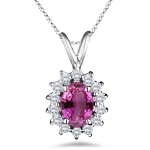 1.30 Cts Diamond & Pink Sapphire Cluster Pendant in 18K White Gold
