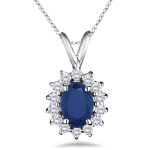 1.30 Cts Diamond & Blue Sapphire Cluster Pendant in 18K White Gold