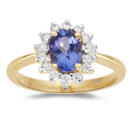 Tanzanite Ring - 0.28 Ct Diamond & Tanzanite Ring in 18K Gold