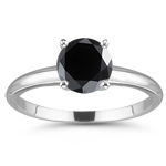 1.00 Ct 5.65mm AA Round Black Diamond Solitaire Ring in 14K White Gold
