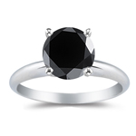 2.00 Cts of 6.20-8.61 mm AA Round Black Diamond Solitaire Ring in 14K White Gold