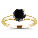 1/2 Cts of 4.89-4.93 mm AA Round Black Diamond Solitaire Ring in 14K Yellow Gold