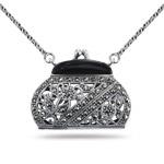 Onyx Marcasite Purse Pendant in Silver