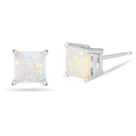 1.25 Cts of 6 mm AA Square Opal Stud Earrings in 14K White Gold