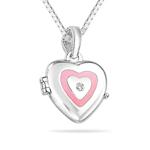 0.01 Ct SI2-I1 clarity & I-J color Diamond Resin Heart Locket Children's Pendant in Silver