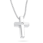 Boys Diamond Set Plain Cross Pendant in Silver