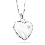 Childrens Jewelry - Diamond Large Heart Locket Pendant in Silver
