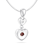 Childrens Jewelry - 0.01 Cts Diamond & 0.06 Cts Garnet January Birthstone Double Heart Pendant in Silver