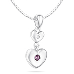Childrens Jewelry - 0.01 Cts Diamond & 0.02 Cts Amethyst February Birthstone Double Heart Pendant in Silver