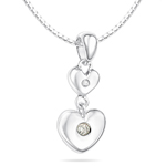 Childrens Jewelry -  0.01-0.04 Cts  SI2 - I1 clarity and I-J color Diamond April Birthstone Double Heart Pendant in Silver