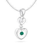 Childrens Jewelry - 0.01 Cts Diamond & 0.03 Cts Natural Emerald May Birthstone Double Heart Pendant in Silver