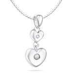 Childrens Jewelry - Mother of Pearl June Birthstone Double Heart Pendant in Silver