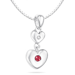 Childrens Jewelry - 0.01 Cts Diamond & 0.04 Cts Ruby July Birthstone Double Heart Pendant in Silver