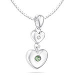 Childrens Jewelry - 0.01 Cts Diamond & 0.03 Cts Peridot August Birthstone Double Heart Pendant in Silver