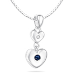 Childrens Jewelry - 0.01 Cts Diamond & 0.04 Cts Sapphire Sept Birthstone Double Heart Pendant in Silver