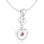Childrens Jewelry - 0.01 Cts Diamond & 0.03 Cts Pink Tourmaline October Birthstone Double Heart Pendant in Silver