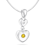 Childrens Jewelry - 0.01 Cts Diamond & 0.02 Cts Citrine November Birthstone Double Heart Pendant in Silver
