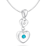 Childrens Jewelry - 0.01 Cts Diamond & 0.04 Cts Turquoise December Birthstone Double Heart Pendant in Silver