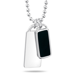 Black Agate Inlay Double Dog Tag Pendant in Silver