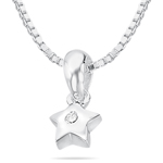 Childrens Jewelry - Diamond Star Pendant in Silver