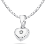 Childrens Jewelry - Silver Diamond Heart Pendant