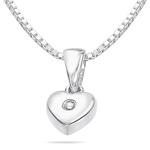 0.01 Ct  SI2-I1clarity & I-J color Diamond Heart Pendant in Silver