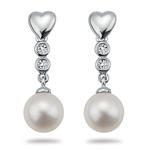 0.06 Ct Diamond & Freshwater Pearl Earrings in 14K White Gold.