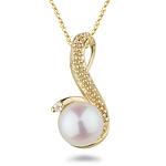 0.015 Ct Diamond & Pearl Pendant in 14K Yellow Gold.