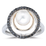 0.33 Cts Black Diamond & Akoya Pearl Ring in 14K Two Tone Gold