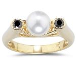 0.21 Cts Black Diamond & 7 mm Cultured Pearl Ring in 14K Yellow Gold
