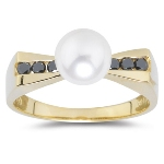 0.16 Cts Black Diamond & 7 mm Cultured Pearl Ring in 14K Yellow Gold