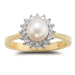 0.16 Ct Diamond & Pearl Ring in 14K Yellow Gold