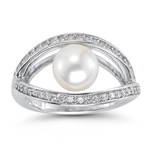 0.42 Cts Diamond & 8.00 mm Pearl Ring in 14K White Gold