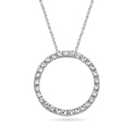 Diamond-cut Circle Pendant in 14K White Gold