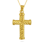 Twisted Cross Pendant in 14K Yellow Gold
