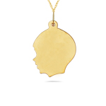 Baby Boy Face Charm Pendant in 14K Yellow Gold