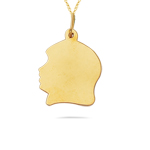 Baby Girl Face Charm Pendant in 14K Yellow Gold