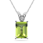 3.00-4.10 Cts of 10x8 mm AAA Emerald-Cut Peridot Scroll Solitaire Pendant in 14K White Gold
