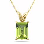 3.00-4.10 Cts of 10x8 mm AAA Emerald-Cut Peridot Scroll Solitaire Pendant in 14K Yellow Gold