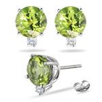 0.02 Cts Diamond & 0.50 Cts Peridot Earrings in Platinum